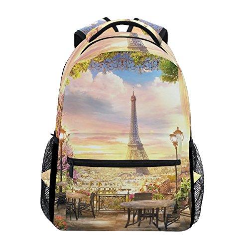 U LIFE Backpack School Bags Laptop Casual Bag for Boys Girls Kids Men Women Romantic Vintage Paris Eiffel Tower -