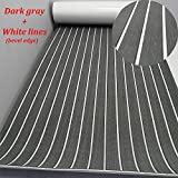 yuanjiasheng EVA Faux Teak Decking Sheet for Boat Yacht Non-Slip and Self-Adhesive Boat Flooring Pad 94.5''× 35.4'' Bevel Edges (Dark Gray with White Lines)