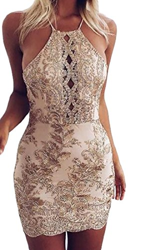 MLG Womens Hollow Lace Sexy Backless Skinny Club Bodycon Dress gold S