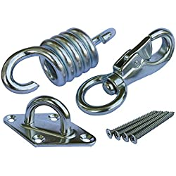 Hammock Chair Ultimate Hanging Kit - Stainless Steel 500 LB Capacity Hammock Spring, Swivel Hook, and Ceiling Hammock Mount (with 4 stainless mounting screws)