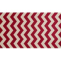 Studio 67 - Bathroom Rug - Chevron Pattern Non-skid Rubber Backing for Bathroom and Kitchen Area - 23 x 39, Red