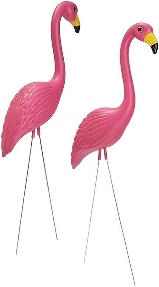 xiangpian183 Adornos de flamencos de jardín - Juego de 2 Figuras de plástico para pájaros de césped Fiesta de jardín de esculturas de flamencos (Rosa, 22.05 x 9.45 Pulgadas): Amazon.es: Hogar