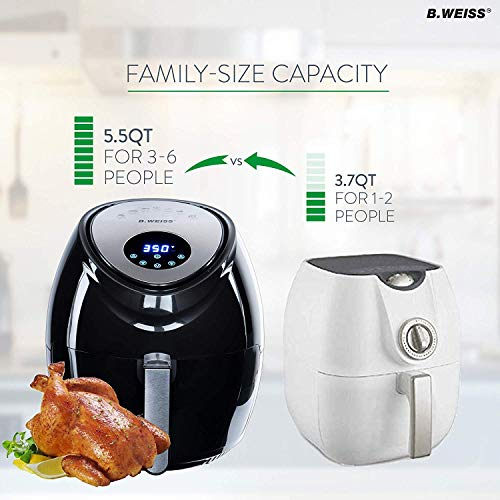 [2019] Air Fryer XL Best 5.5 QT 8-in-1 By (B. WEISS) Family Size Huge capacity,With Airfryer accessories; PIZZA Pan, (50 Recipes Cook Book),Toaster rack, Cooking Divider. XXL