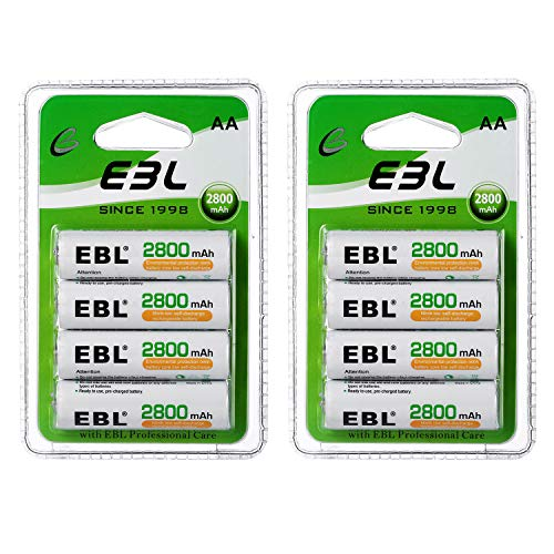 EBL AA Rechargeable Batteries (Retail Package), 1.2V 2800mAh AA Battery, 8 Counts