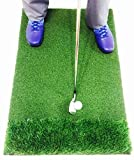 StrikeDown Dual-Turf Pro Golf Hitting Mat | Fairway and Rough Simulation Training Aid with Built-in Shockpad for Indoor and Outdoor Practice (36-Inch x 24-Inch)