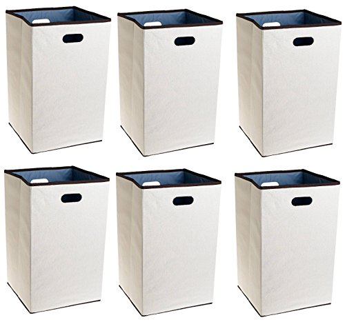Rubbermaid Configurations Custom Closet Folding Laundry Hamper NNeWud, Natural, 23-in. (FG4D0602NATUR), Pack of 6