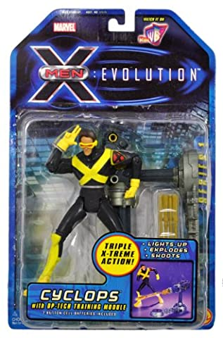 Marvel Year 2001 X-Men Evolution 6 Inch Tall Action Figure - CYCLOPS with Op-Tech Training Module and Triple X-Treme Action (Lights-Up, Explodes and (Xmen Evolution Series)