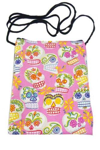 US Handmade Fashion Passport Cover Bag CALAVERAS SUGAR SKULLS Day of the Dead Skulls Rockabilly Halloween Gothic Pattern Shoulder Bag US Handmade Handbag Purse Alexander Henry Cotton Fabric, PINK Color, PT 1017]()