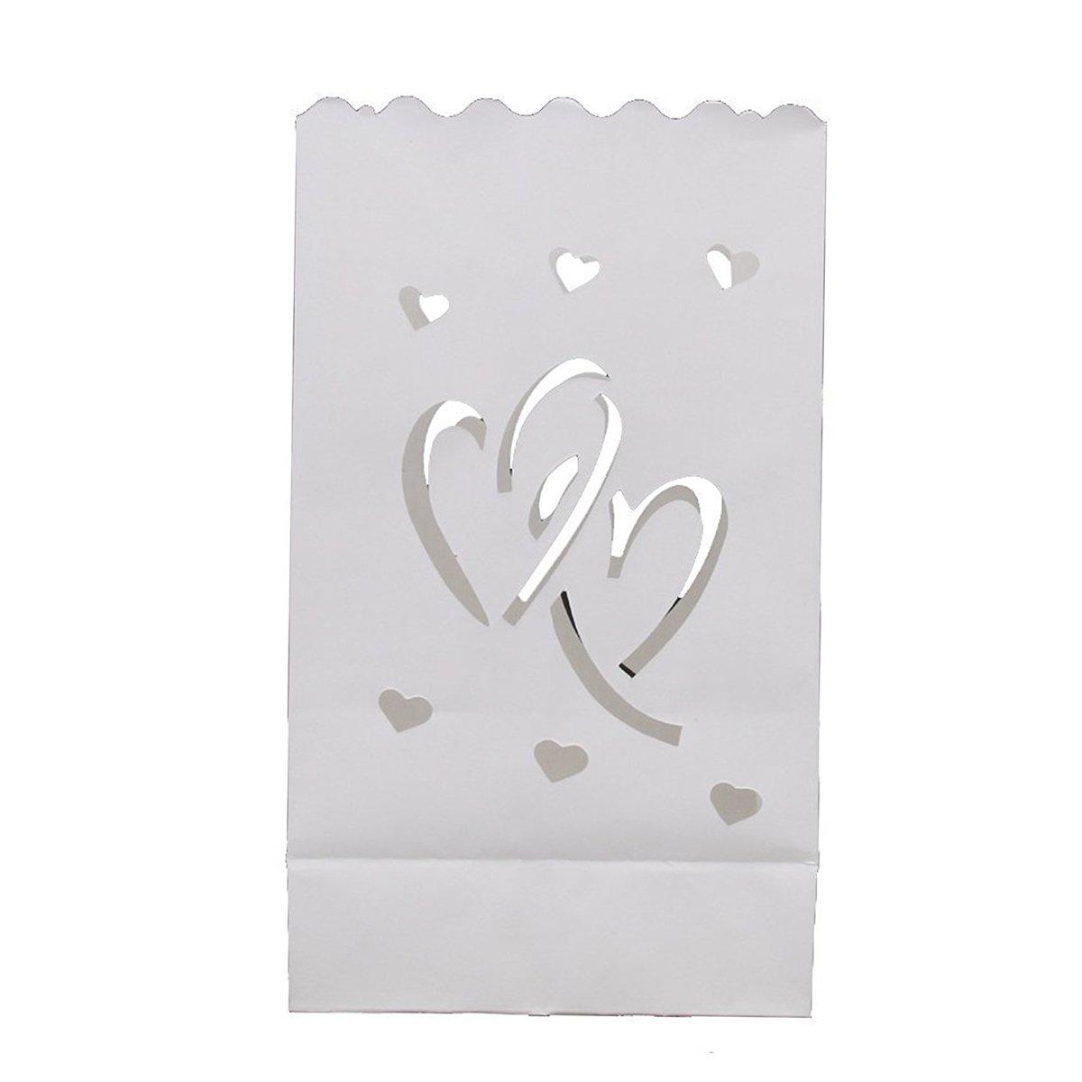 ROSENICE Sacchetto di candela Amore cuore Decorazione 10pcs di cerimonia nuziale della candela della lanterna di carta della candela di nozze