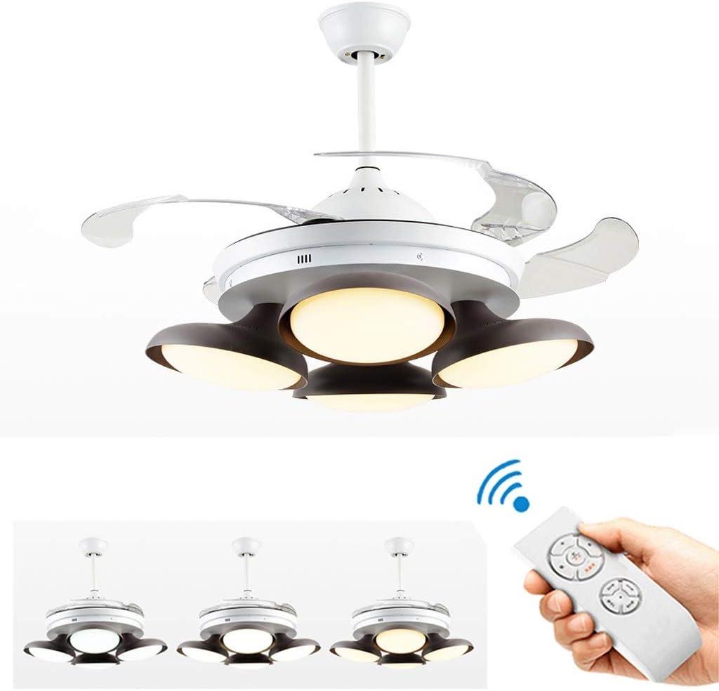 DAHAI Ventilador De Techo De Luz Con 4-luz, Ventiladores Techo Sincronización Luz, Moderno Ajustable Velocidad Viento Regulable Silencioso Lámpara El Ventilador, Positivo Y Negativo Rotación Ventilado