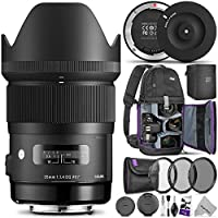 Sigma 35mm F1.4 Art DG HSM Lens para cámaras réflex digitales Nikon con base USB Sigma y paquete avanzado de fotografía y viaje