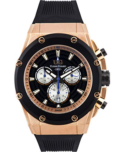 Ulysse Girard Swiss Chronograph Arbour Mens Watch - Black Sillicone Strap, Rose Gold Case, Black/Rose Gold - Mens Swiss Rose