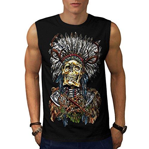 [Indian Skull Skeleton Native Face Men NEW M Sleeveless T-shirt | Wellcoda] (Mayan Warrior Costumes)