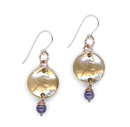 75th Birthday Gifts Ideas For Women 1942 Penny Earrings With February Amethyst Birthstone Beads