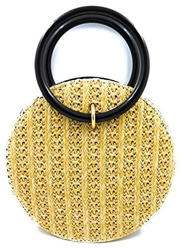 EXCLUSIVE Round Crossbody Straw Bag with Black Ring Handles- Unique Design, Premium Quality (Beige)