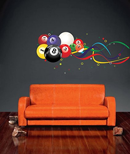 - StickersForLife cik662 Full Color Wall Decal Balls American Pool Billiard Sports Sports Cafe
