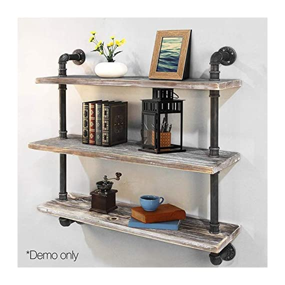 "Diwhy Industrial Pipe Shelving Bookshelf Rustic Modern Wood Ladder Storage Shelf 3 Tiers Retro Wall Mount Pipe Dia 32mm Design DIY Shelving (Silver, L 36"") - 【Retro Style】:Rustic industrial pipe shelf in black finish.Iron pipes and reclaimed real wood composition in vintage style.Storage and decorations.It can also be used outdoors.Extensively anti-rust treatment. - Electroplated finish. 【Size】:Made from quality metal pipe and pine wood. Overall size: length 36in x depth 10in x height 39in.Board size: length 36in x depth 10in x thickness 1.18in.Water pipe diameter: 1.26in, Overall Product Weight:33 lb . 【Multi-functional】:The floating shelves are versatile, such as bathroom accessories, towel holder, bookcase, spice racks. - wall-shelves, living-room-furniture, living-room - 51IBaSnpLmL. SS570  -"