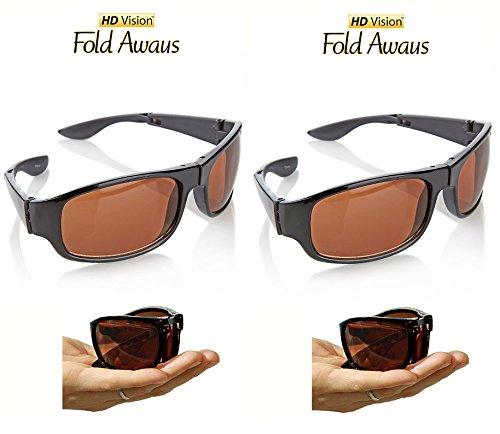 HD Vision Fold Aways High Definition Sunglasses Deluxe- 2 Pack - Fold Sunglasses Away
