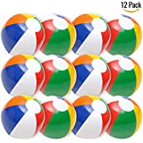 """Inflatable Beach Balls Rainbow Color 12"""" (Pack Of 12) Multicolored For Beach-Pool Toys And Summer Parties"""