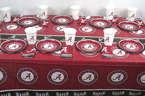(University of Alabama Crimson Tide 49 Pieces Patty Set, Includes Plates, Napkins, Jumbo Cups and a)