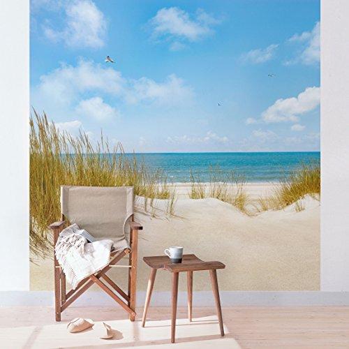 Vlies Fototapete Strand an der Nordsee - ORIGINAL XXL Vliestapete quadratisch Tapete Vliesfototapete Wandbild Wandtapete 3D Wanddeko Wand Meer Dünen Himmel Natur Küste Landschaft blau sand türkis