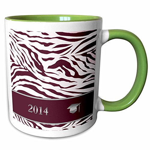 3dRose Beverly Turner Graduation Design - 2014 Zebra Print with Graduation Cap, Red - 15oz Two-Tone Green Mug (mug_180902_12) (Zebra Invitation Graduation)