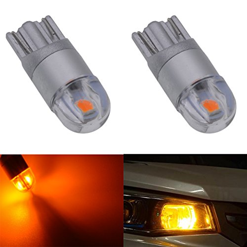 KaTur 194 Amber LED Light T10 2-SMD 3030 Chips Car Interior Light Replacement W5W 168 175 192 2825 Map- Dome- Courtesy- License Plate- Dashboard Side Marker Light DC 12V 6000K (Pack of 2)