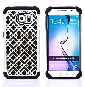 For Samsung Galaxy S6 G9200 - pattern white black vintage wallpaper Dual Layer caso de Shell HUELGA Impacto pata de cabra con im??genes gr??ficas Steam - Funny Shop -