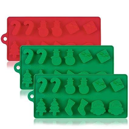 YuCool 3 moldes de silicona para tartas de Navidad, chocolate, dulces, jaleas,