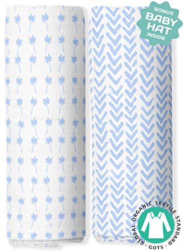 (Muslin Swaddle Blankets - Organic Bamboo Swaddle Blanket Boys Set of 2 - Soft Baby Blanket - Nursery Swaddling - Newborn Receiving, Swaddle Wrap for Infant or Toddler - Shower)