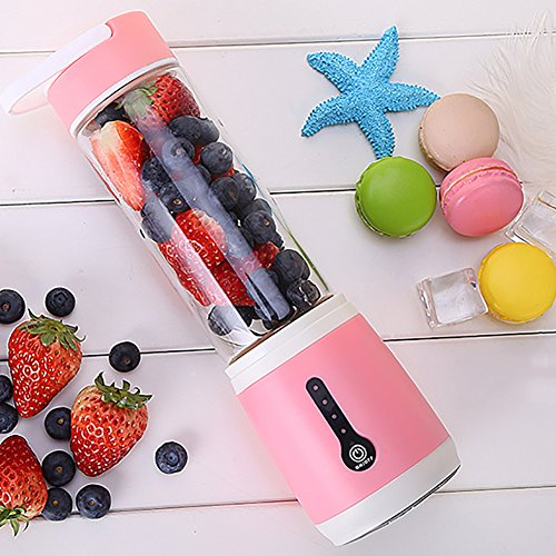 Electric Rechargeable Mixer Cup, Portable Juicer With Travel Sport Bottle, 480ml, 2x2000mah High Capacity Batteries-pink