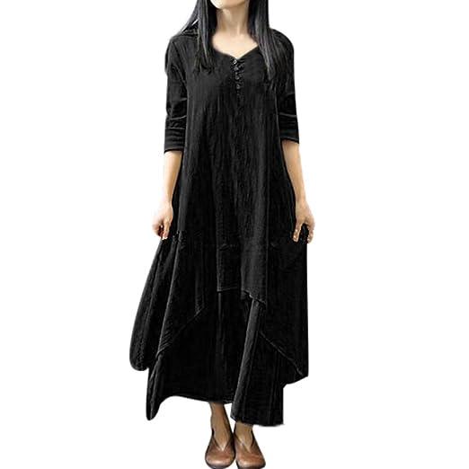1c63dcc1fa2 Cotton Linen Boho Long Dress Women Casual Loose Long Sleeve Irregular Dress