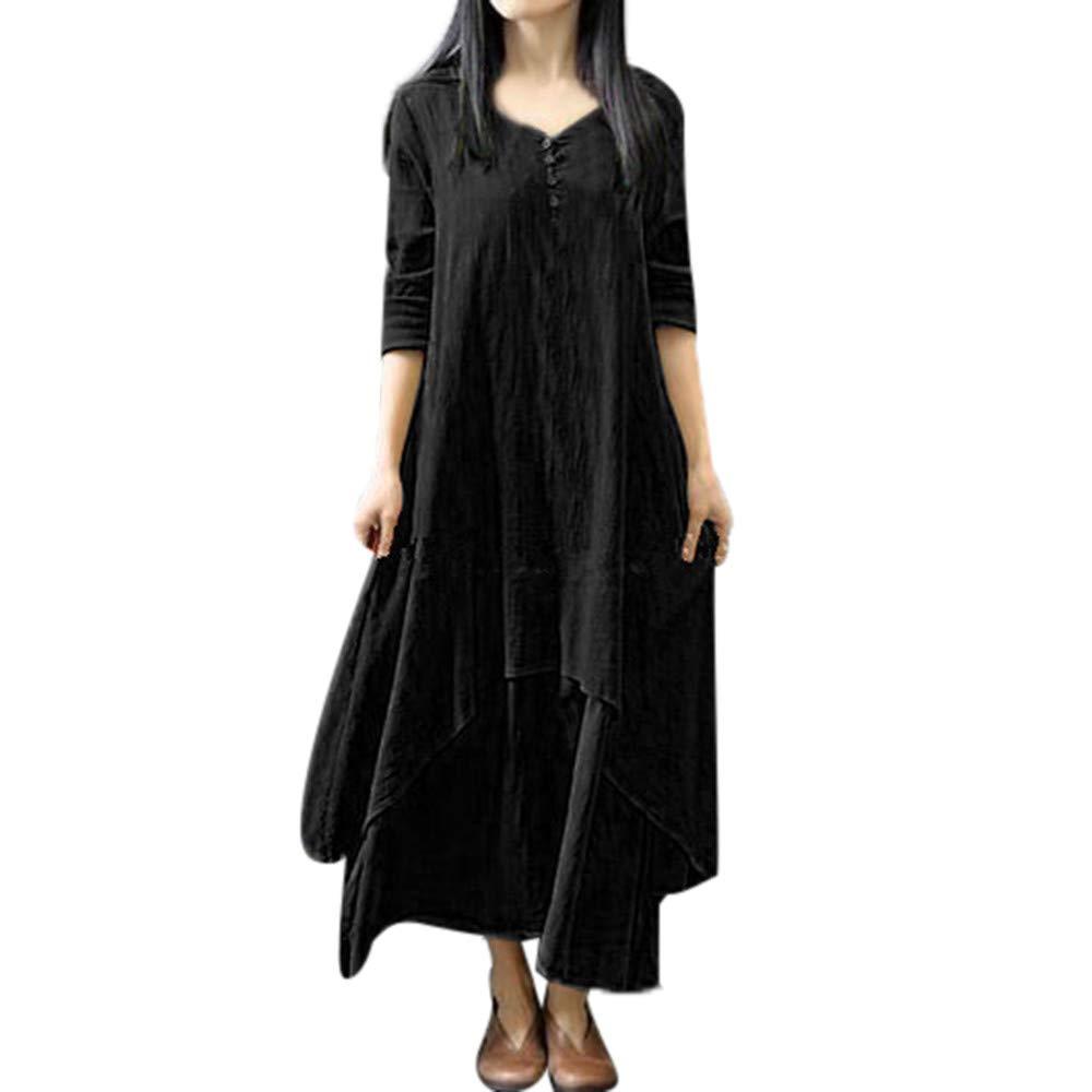 Jiayit Dress Clearance! Women's Casual Long Sleeve Cotton Boho Long Dress Irregular Dress