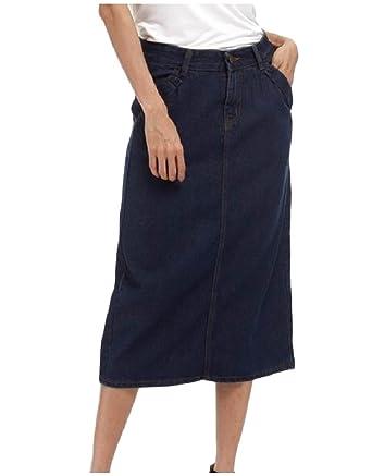 2086a5b484e8d Zimaes-Women Denim Pocket Plus-Size Empire Waist Mid Long Pencil Skirt at  Amazon Women s Clothing store