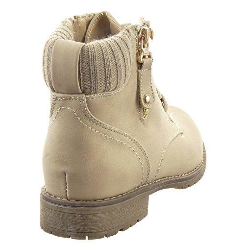 Sopily - Scarpe da Moda Stivaletti - Scarponcini Rangers Cavalier Low boots donna Zip Tacco a blocco 2.5 CM - soletta tessuto - Beige