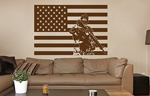 Cheap  ik733 Wall Decal Sticker Army soldier military weapons American flag vest room