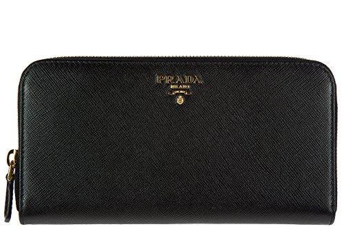 Prada Women's Saffiano Zip-Around Wallet Black