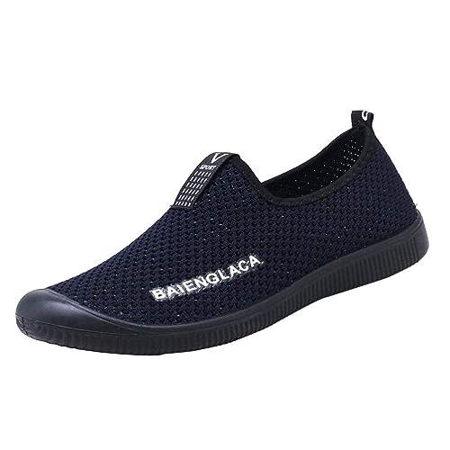 Logobeing Zapatos Planos Redondas y Transpirables con Malla para Hombre Zapatillas Deportivas Zapatillas Sin Cordones Casuales