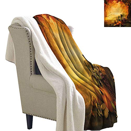 AndyTours Winter Quilt Pumpkin Grapes Basket Fall Forest Upgraded Thick Lazy Blanket Blanket W59 x L78 -