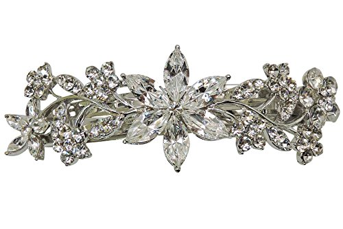 Faship Gorgeous Clear Crystal Floral Barrette - Clear