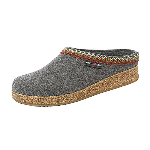 HAFLINGER New Women's Grizzly Zig Zag Clog Grey - Clogs Boiled Wool