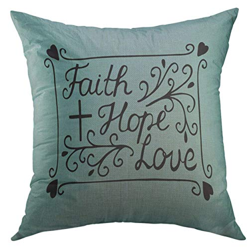 Mugod Decorative Throw Pillow Cover for Couch Sofa,Hand Lettering Faith Hope Love Cross Hearts Bible Verse Christian New Testament Modern Home Decor Pillow Case 18x18 inch