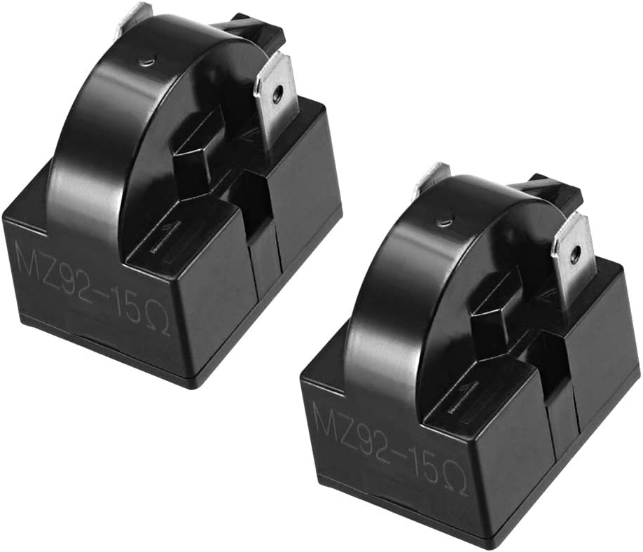 uxcell 2 Pcs 15 Ohm 2 Pin Refrigerator PTC Starter Relay Black