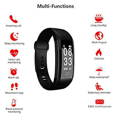 Fitness Tracker Smart Bracelet Waterproof Bluetooth With Heart Rate Monitor Blood Pressure Smart Wristband Fitness Watch Activity Tracker Step Counter Pedometer Sport Sleep Monitor for Android and Ios