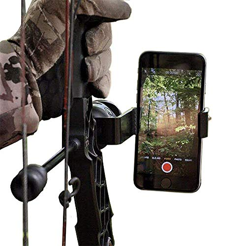 Kingwolfox Bow Mount Phone Holder Bracket for Archery Hunting with Apple iPhone and Samsung Galaxy, Recurve Compound Archery Aluminum Accessories (Best Camera For Bow Hunting)