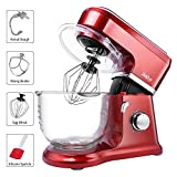 Betitay Stand Mixer, 6-Speed 4.5 QT Glass Bowl Visual Baking Mixer, Dough Kneading Machine with Splash Guard, Mixing Beater, Whisk, Dough Hook and Silicone Brush, 500W/1400W Max. (Red/Glass)