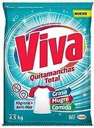 Viva Quitamanchas Total Higiene+Tecnología Anti-olor, Detergente en polvo 4.5kg
