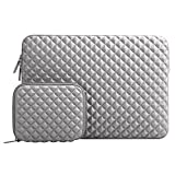 MOSISO Shock Resistant Diamond Foam Water Repellent Neoprene Laptop Sleeve Cover Bag Compatible 13-13.3 Inch MacBook Pro/Air, Notebook with Small Case, Gray