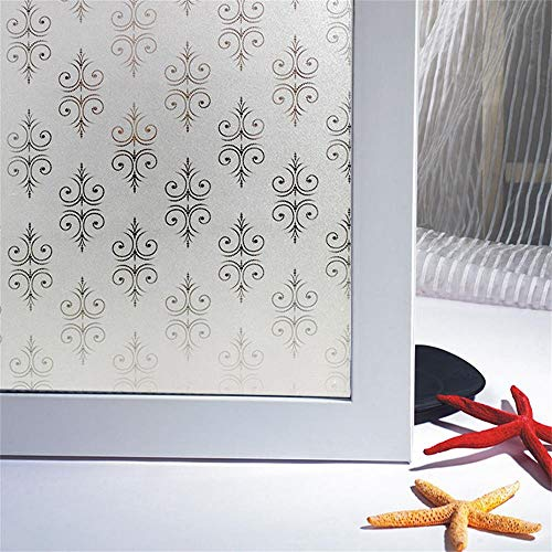 Bloss Non-Adhesive Window Film Static Cling Glass Door Film, Vinyl Privacy Decorative Heat Control Anti UV Window Decals for Home and Office Windows (17.7-by-78.7 Inches) - Free Window Decals