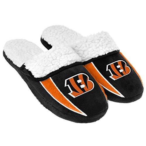 2013 NFL Football Mens Team Logo Sherpa Slippers (Cincinnati Bengals, Extra Large 13-14) by Forever Collectibles
